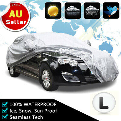 New Upgrade Aluminum Car Cover Waterproof Sun UV Resistant Double Thicker Size L