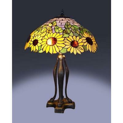 25 in. tiffany bronze style sunflower table lamp | set chesterfield way switch