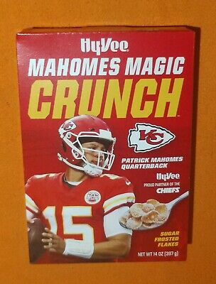 Patrick Mahomes Magic Crunch Frosted Flakes Cereal Box Chiefs NFL MVP Hy-Vee