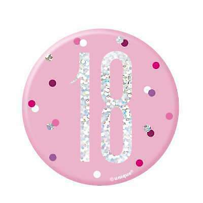 """Pink & Silver Age 18/18th Birthday 3"""" Badge"""