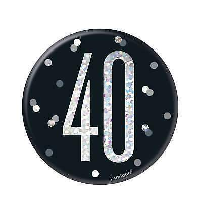 """Black & Silver Age 40/40th Birthday Party  3"""" Badge"""