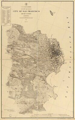 "14"" x 24"" 1857 Map of City of San Francisco & It's Vicinity California"