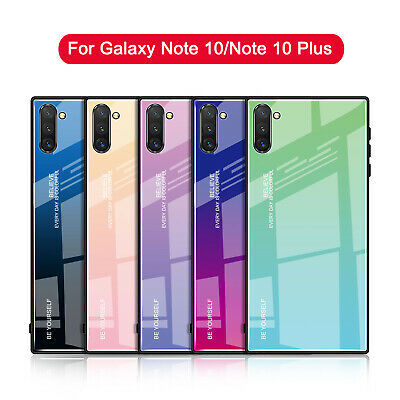 For Samsung Galaxy Note 10 Plus Case Shockproof Tempered Glass Back Hybrid Cover