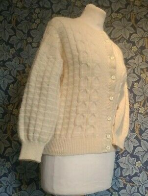 Vintage 1940s/50s Arran Cardigan Home Front Ww2 Reenactment Cream chunky knitted