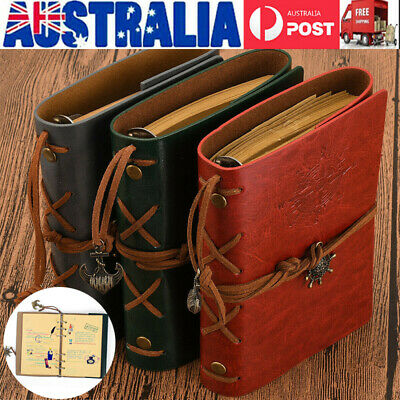 Retro Notebook Vintage Leather Bound Blank Page Notepad Journal Diary Sketchbook