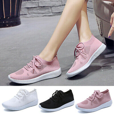 Leisure Women's Outdoors Mesh Lace Up Sports Shoes Run Breathable Shoes Sneakers