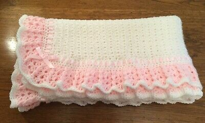 Hand Crochet Baby Girls Frilly Blanket White And Pink Brand New