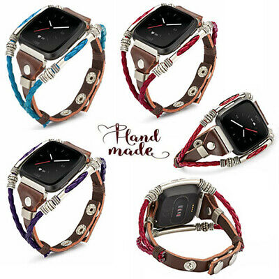 Replacement Leather Wristband Band Strap Bracelet For Fitbit Versa Lite / Versa