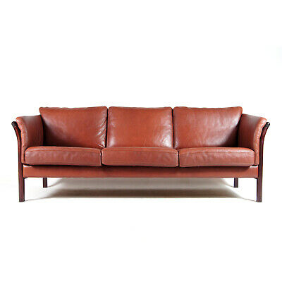 Retro Vintage Danish Rosewood & Leather 3 Seat Seater Sofa 60s 70s Mid Century