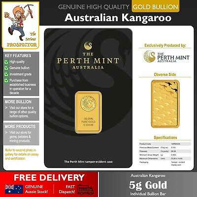 5g Gold Bullion Bar | Perth Mint | Minted 99.99% | Investment Grade | Free P&H!!