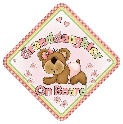 Granddaughter On Board Baby Car Window Sign Non Personalised - Pink Child Cute