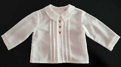 VINTAGE 1960's ~ BABY GIRL or REBORN DOLL, WHITE BLOUSE, SHIRT, PIN TUCKS 12MTH