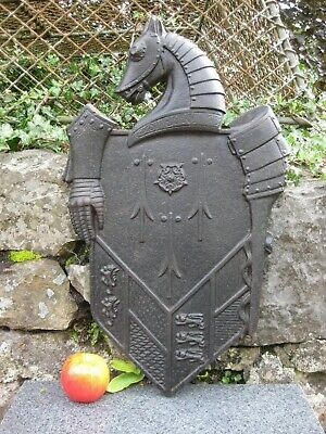 Vintage / Antique Cast Iron Armorial Plaque ~English Coat of Arms / Family Crest