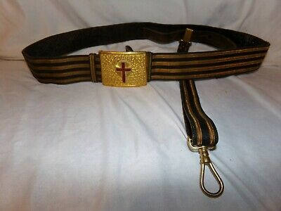 ANTIQUE MASONIC KNIGHTS Templar Ceremony Sword Belt with