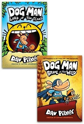 Dav Pilkey Dog Man Series 2 Books Collection Set Lord of the Fleas, Brawl of the