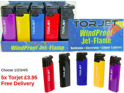 1/2/3/4/5 TorJet Windproof Electric Turbo Jet-Flame Lighter Refillable 5 Colour
