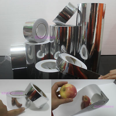 Wide-Used PVC Adhesive Glossy Mirror Chrome Vinyl Tape Wrap Sticker Silver - HD