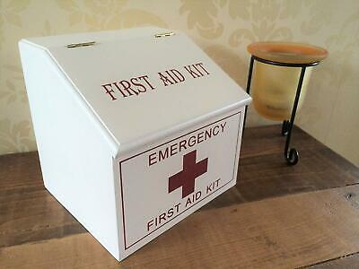 White Wooden First Aid Pharmacy Storage Box Shabby Chic French Vintage Style