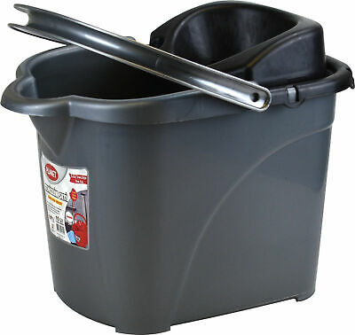 Sturdy Plastic Mop Bucket with Detachable Strainer 15L with Wheels