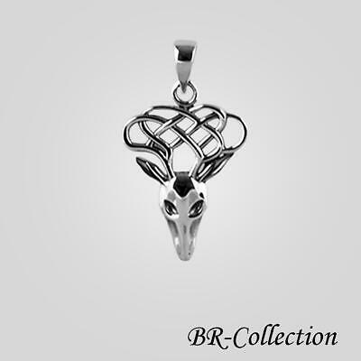Pure 925 Sterling Silver Celtic Knot Dear Pendant - Irish Jewelry