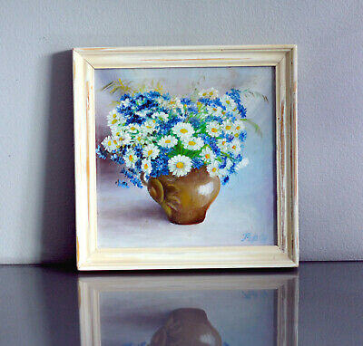Scandinavian Impressionism Signed Framed Oil Painting Cornflower & Daisy in Vase