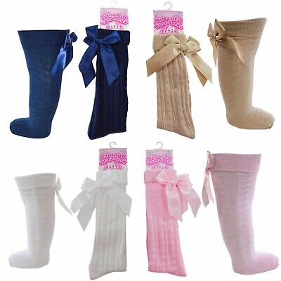 SOCKS girls Heart BOW Knee High Cotton rich SOCKS Spanish Romany