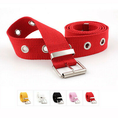 Fashion Girls Canvas Belt Hollow Out Air Hole Korean Style Decoration Waistbands