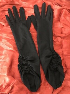 1960s Vintage Gloves Black Nylon Simplex Long Ruched Small Ladies Bridal  7.5