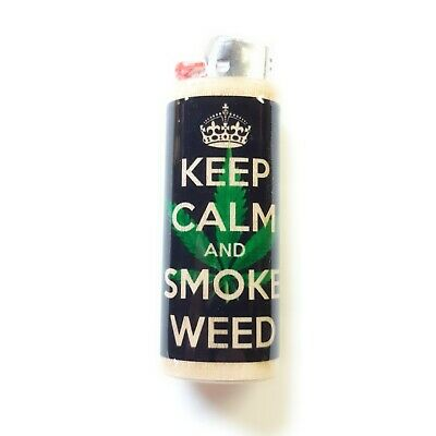 Keep Calm and Smoke Weed Lighter Case Holder Sleeve Cover Fits Bic Lighters