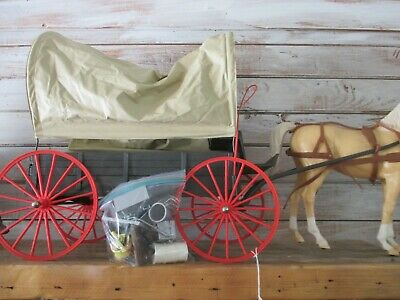 1960'S Marx Johnny West Covered Wagon And Horse With Many Accessories