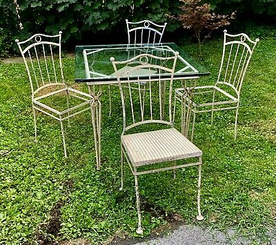 Rare Vintage White Wrought Iron Square Glass Top Patio Set With 4 Chairs