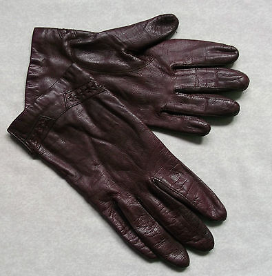 Gloves WOMENS Vintage Retro 1970s 1980s LEATHER BURGUNDY