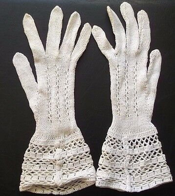 Gloves WOMENS Vintage Retro 1960s CROCHET NATURAL IVORY