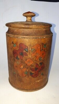 Antique Primitive Wooden Wood Bowl Box Vessel for Spices Painted Early 20th