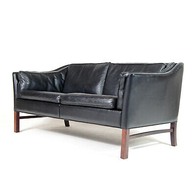 Retro Vintage Danish Black Leather 2 Seat Seater Sofa 1970s Mid Century Rosewood