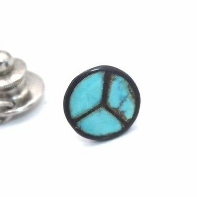 Vtg 1960s ZUNI Modernist PEACE SIGN Sterling Silver TURQUOISE INLAY Tie Pin