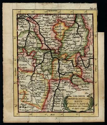 Upper and Lower Rhine circles 1758 Buffier map w/ early original hand color
