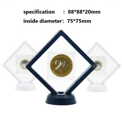 Black Coin Frame Plastic 3D Floating Display Box Case Square Protection