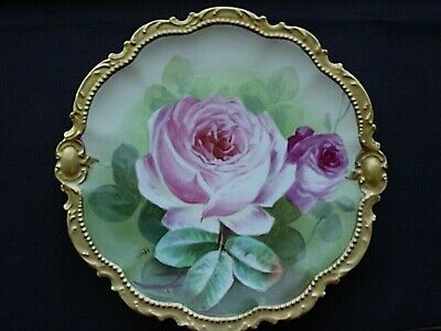 Antique Limoges France Hand Painted Plate Large Roses Raised Gold Artist Signed