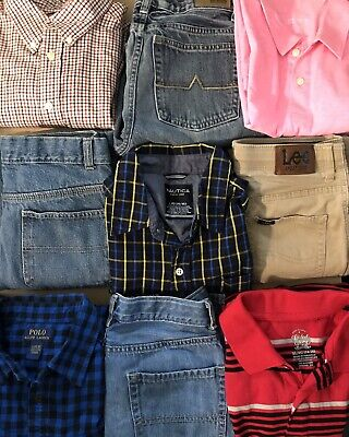 Boys 14 -14/16 School Lot Of 9 Jeans & Shirts Ralph Lauren Nautica Lee Chaps  CP