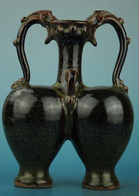 china old hand-made black glaze porcelain Dragon ear  twins vase d01