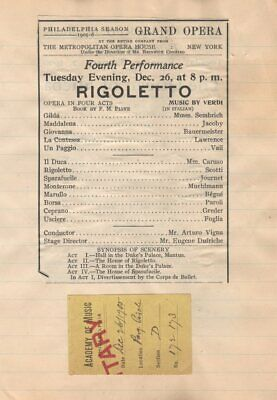 *Great Tenor Enrico Caruso Rare 1905 Rigoletto Program & Ticket*