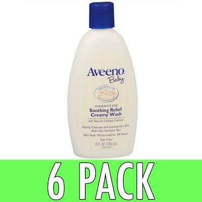 Aveeno Baby Soothing Relief Creamy Wash, Fragrance Free, 8 oz, 6 Pack