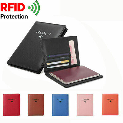 RFID Blocking Passport Wallet Leather Travel Document Cover ID Card Holder Case