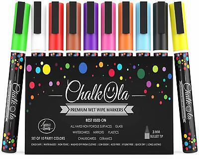Fine Tip Chalk Markers - Pack of 10 neon color pens