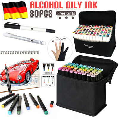 80+3 Marker Pen Lackmarker Stifte Set Twin Tip Graphic Alkohol Sketch Pen Marker