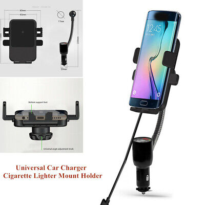 QI Wireless Dual USB Car Charger Holder Mount w/Cigarette Lighter for Cell Phone