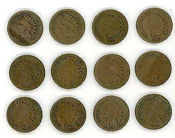 12 x United States of America Indian Head One Cent Coins - 1859-1863