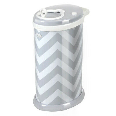 New Ubbi Nappy Diaper Pail Bin Eco Friendly - Grey Chevron Colour Save !