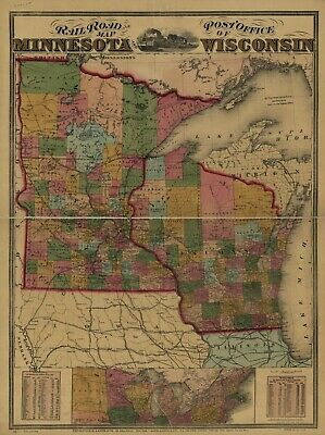 """18"""" x 24"""" 1871 Map of Railroad & Post Office Map of Minnesota & Wisconsin"""